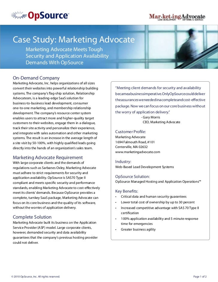 Case Study: Marketing Advocate            Marketing Advocate Meets Tough            Security and Application Availability ...
