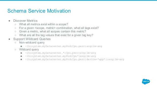 Schema Service Motivation ● Discover Metrics ○ What all metrics exist within a scope? ○ For a given <scope, metric> combin...