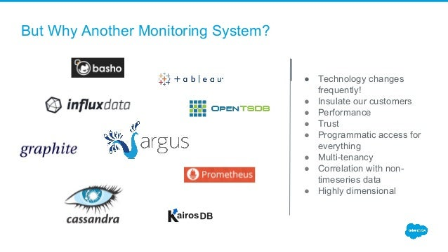 But Why Another Monitoring System? ● Technology changes frequently! ● Insulate our customers ● Performance ● Trust ● Progr...