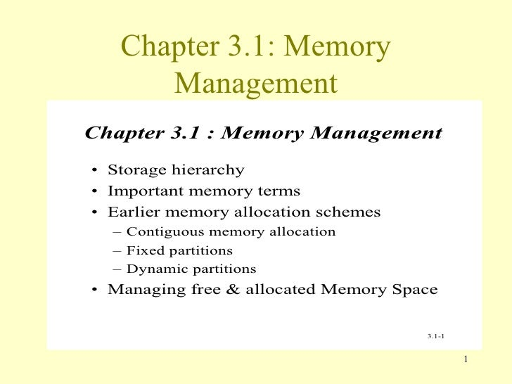 Chapter 3.1: Memory Management