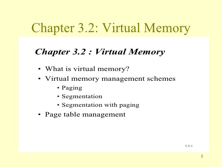 Chapter 3.2: Virtual Memory