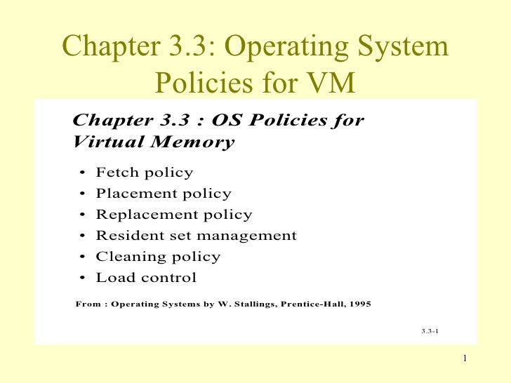 Chapter 3.3: Operating System Policies for VM