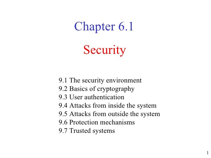 Security Chapter  6.1 9.1 The security environment  9.2 Basics of cryptography  9.3 User authentication  9.4 Attacks from ...