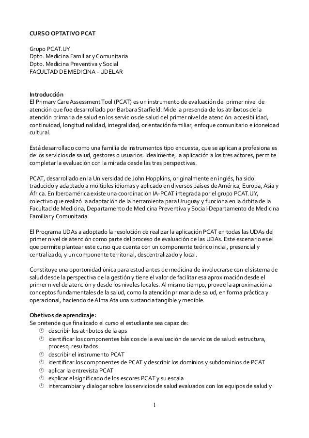CURSO OPTATIVO PCAT Grupo PCAT.UY Dpto. Medicina Familiar y Comunitaria Dpto. Medicina Preventiva y Social FACULTAD DE MED...