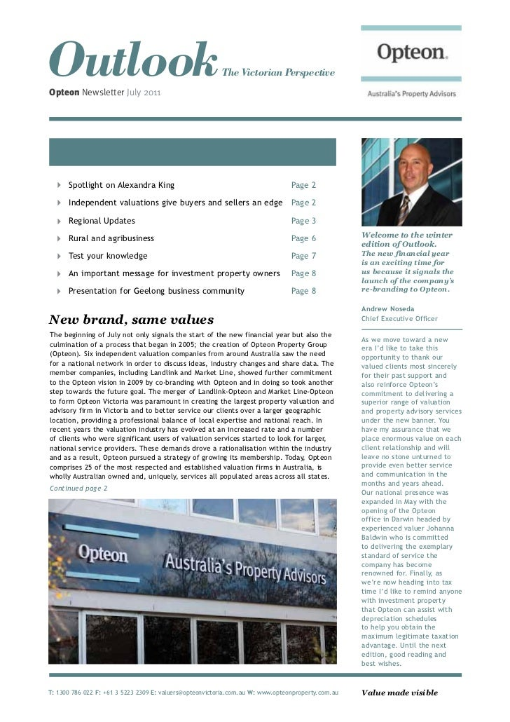 OutlookOpteon Newsletter July 2011                                                         The Victorian Perspective      ...