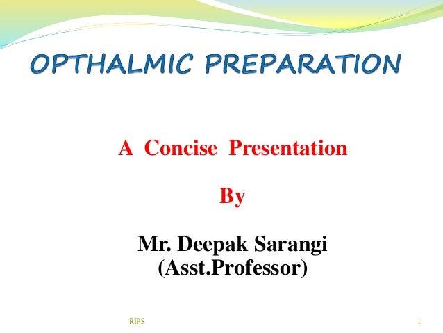 1 A Concise Presentation By Mr. Deepak Sarangi (Asst.Professor) RIPS