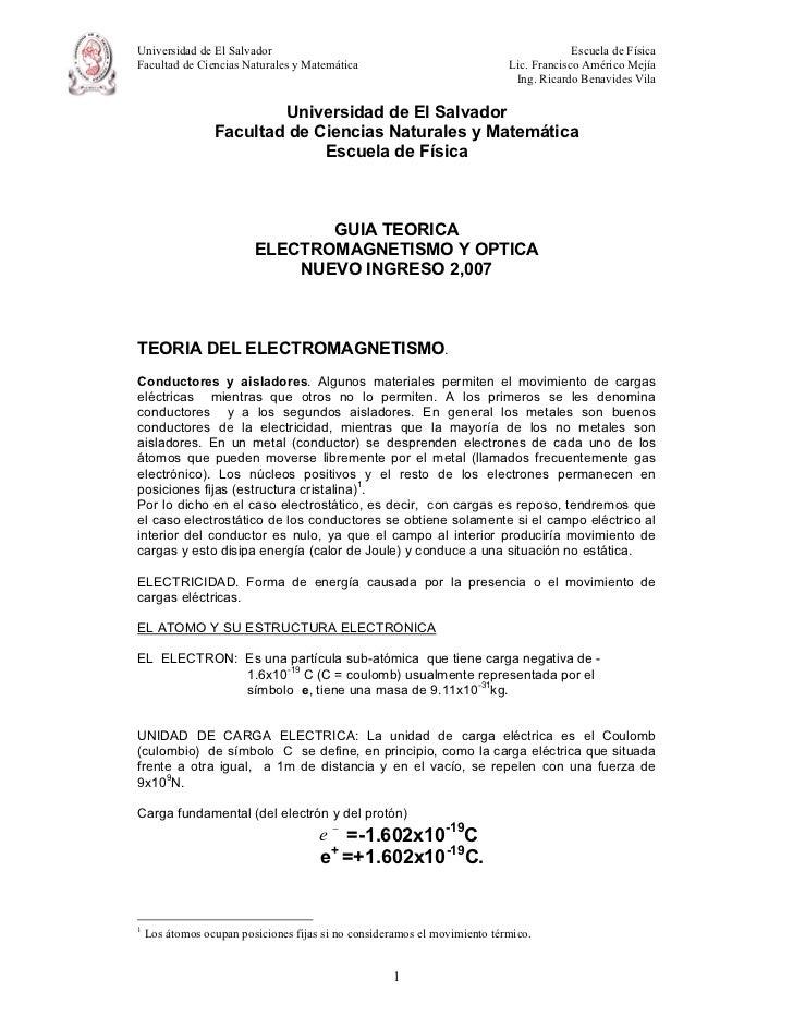 Universidad de El Salvador                                                              Escuela de FísicaFacultad de Cienc...