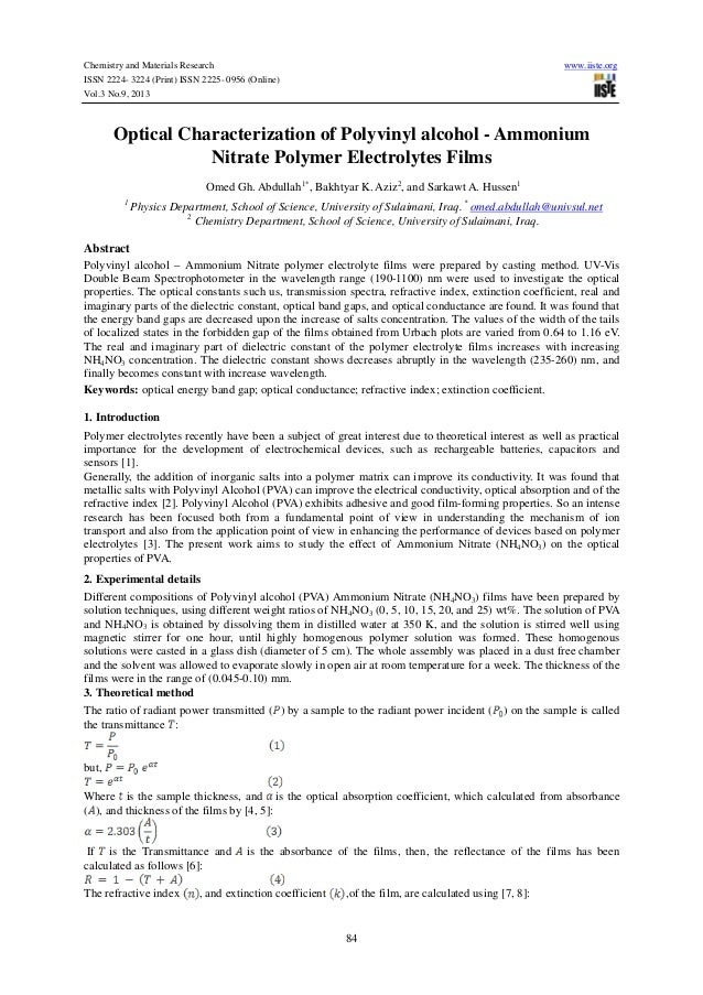 Chemistry and Materials Research www.iiste.org ISSN 2224- 3224 (Print) ISSN 2225- 0956 (Online) Vol.3 No.9, 2013 84 Optica...