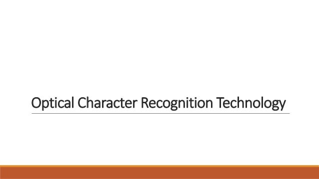 Optical Character Recognition Technology
