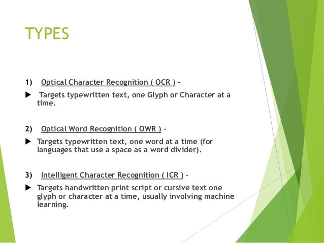 Optical Character Recognition( OCR )