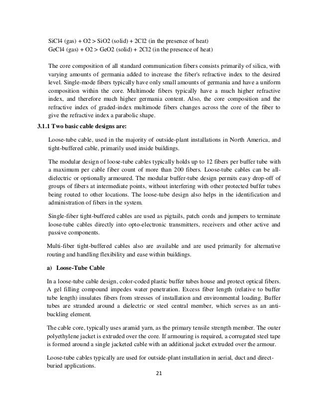 optical fiber communication training report