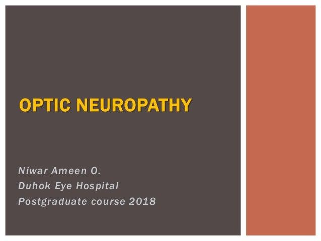 Niwar Ameen O. Duhok Eye Hospital Postgraduate course 2018 OPTIC NEUROPATHY