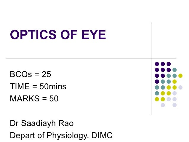 OPTICS OF EYEBCQs = 25TIME = 50minsMARKS = 50Dr Saadiayh RaoDepart of Physiology, DIMC