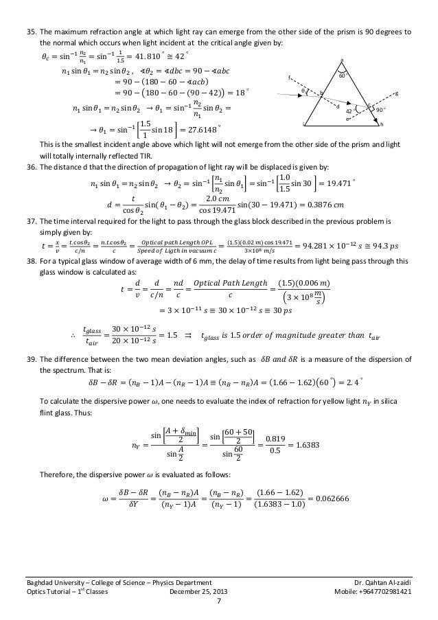 Optics tutorial 1st year physics classes 2013-2014 { Problems n So…