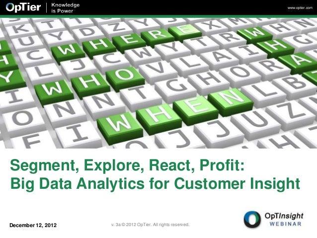 www.optier.comSegment, Explore, React, Profit:Big Data Analytics for Customer InsightDecember 12, 2012   v. 3a © 2012 OpTi...