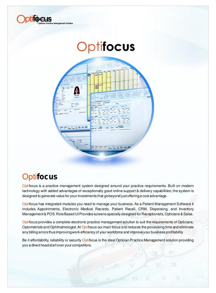 Optifocus Practice Management Software For Optician Brochure
