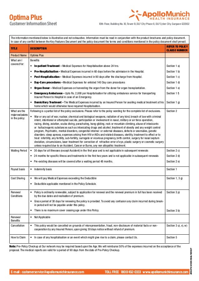 Optima PlusCustomer Information Sheet                                                        10th Floor, Building No. 10, ...