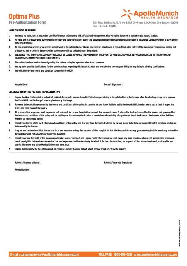 Apollo Munich Optima Plus Pre Authorisation Form