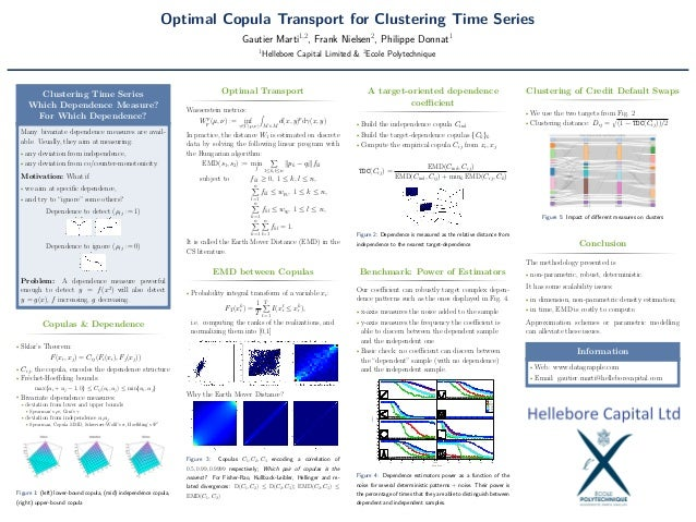 Optimal Copula Transport for Clustering Time Series Gautier Marti1,2 , Frank Nielsen2 , Philippe Donnat1 1 Hellebore Capit...