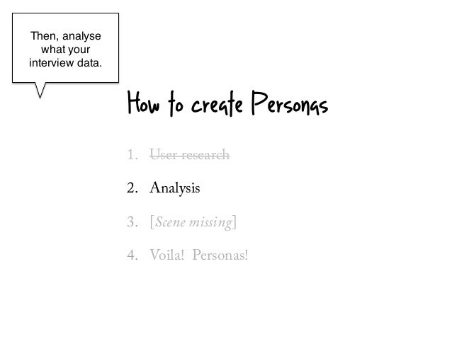 Then, analyse   what yourinterview data.!        !                   How to create Personas                   1.  User res...