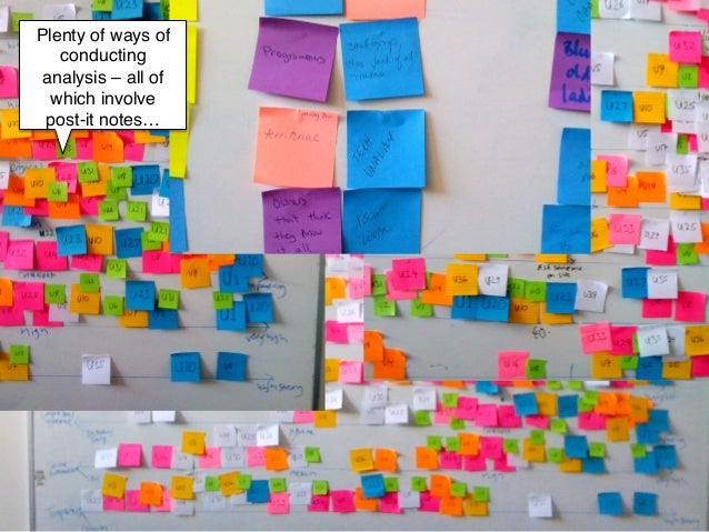 Plenty of ways of   conducting analysis – all of  which involve post-it notes…!         !