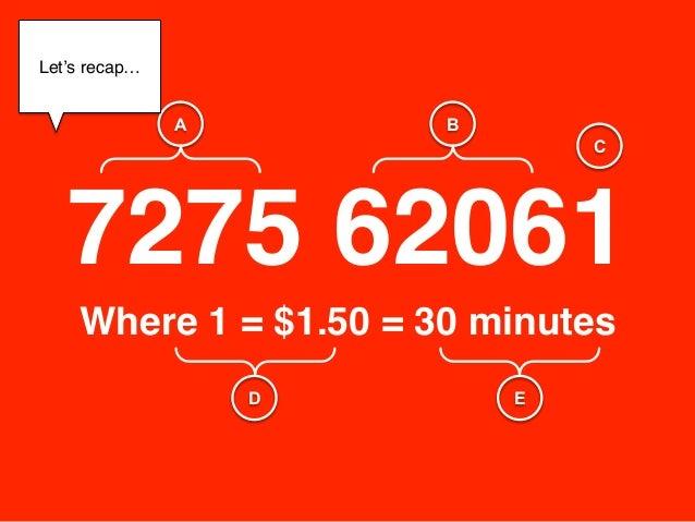 "Let's recap…!       !                A       B                                C   7275 62061""    Where 1 = $1.50 = 30 minu..."