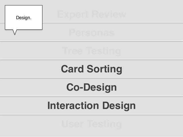 "Design.!     Expert Review""  !               Personas""              Tree Testing""             Card Sorting""               ..."