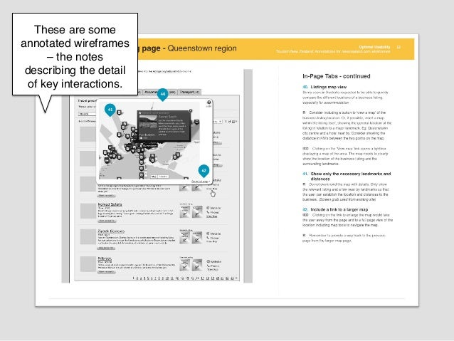 These are someannotated wireframes      –the notes describing the detail  of key interactions.!            !