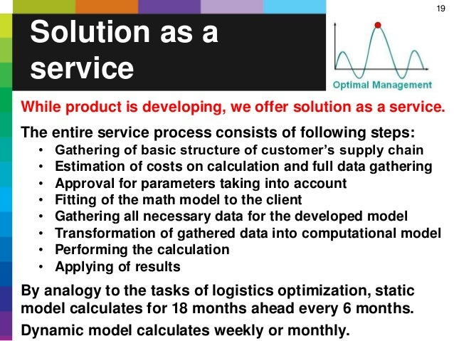 19 Solution as a service While product is developing, we offer solution as a service. The entire service process consists ...