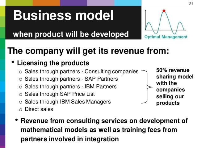 21 Business model when product will be developed The company will get its revenue from: • Licensing the products o Sales t...