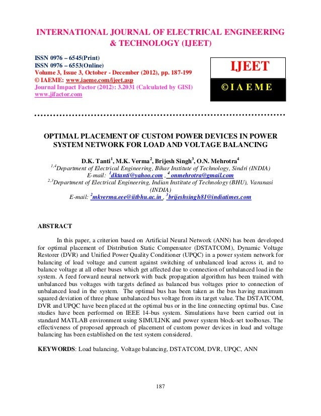 INTERNATIONALIssue Engineering– and Technology (IJEET), ISSN ENGINEERINGInternational Journal of Electrical0976 – 6553(Onl...