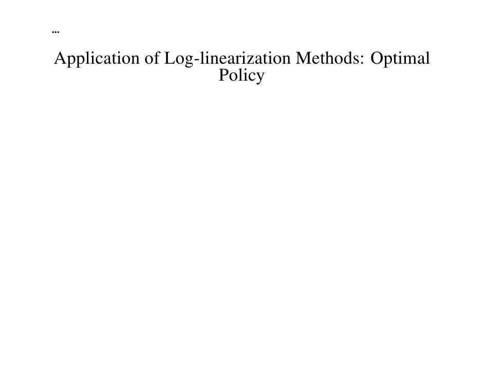 ...Application of Log-linearization Methods: Optimal                      Policy                                          ...