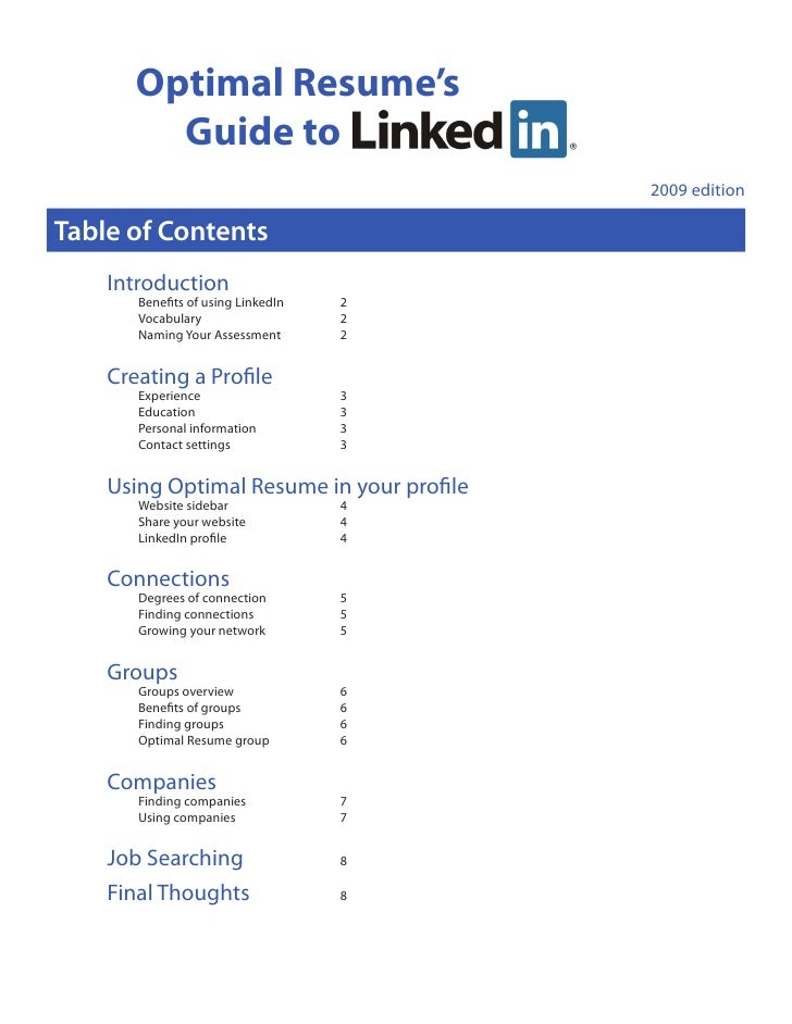 Optimal Resume's          Guide to                                            2009 edition  Table of Contents     Introduc...