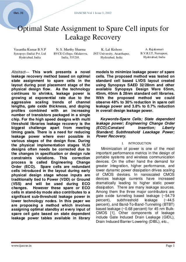Oct. 31                                   IJASCSE Vol 1 Issue 3, 2012    Optimal State Assignment to Spare Cell inputs for...