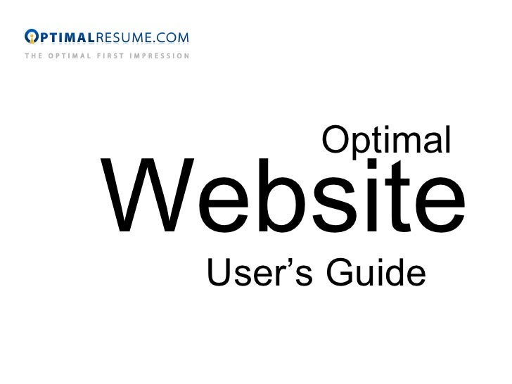 Optimal Website User's Guide