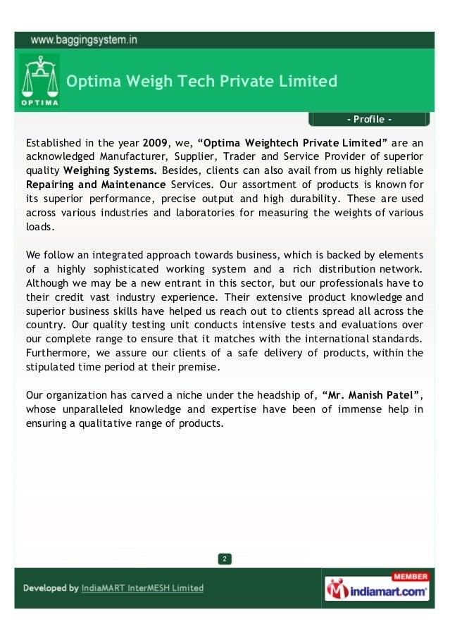 Optima Weigh Tech Private Limited, Vadodara, Laboratory Balance Slide 2