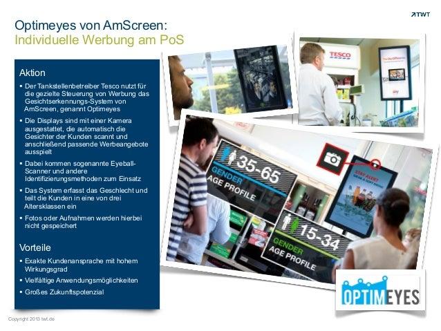 Optimeyes von AmScreen: Individuelle Werbung am PoS Aktion ! Der Tankstellenbetreiber Tesco nutzt für die gezielte Steueru...