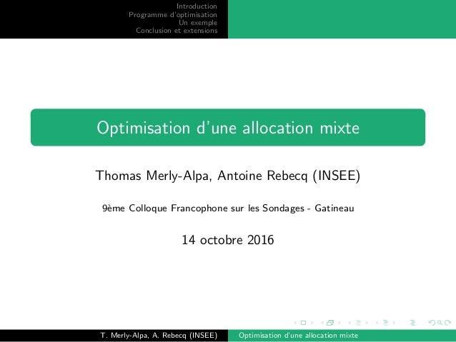 Introduction Programme d'optimisation Un exemple Conclusion et extensions Optimisation d'une allocation mixte Thomas Merly...