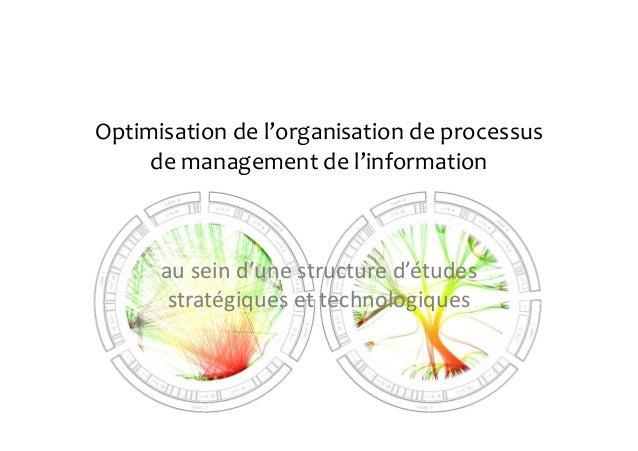 Optimisation de l'organisation de processus de management de l'information au sein d'une structure d'études stratégiques e...