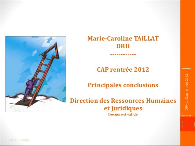 DRHJ - 121206 1 DRHJ:Caprentrée2012 Marie-Caroline TAILLAT DRH ------------ CAP rentrée 2012 Principales conclusions Direc...