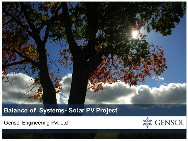 Balance of Systems- Solar PV Project Gensol Engineering Pvt Ltd