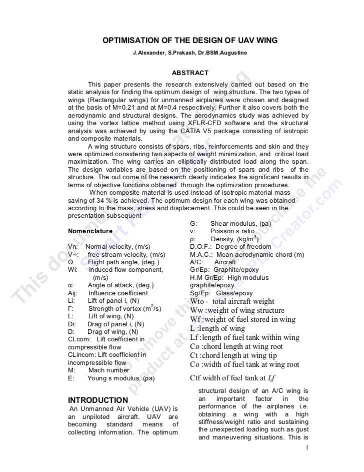 OPTIMISATION OF THE DESIGN OF UAV WING                      J.Alexander, S.Prakash, Dr.BSM.Augustine                      ...