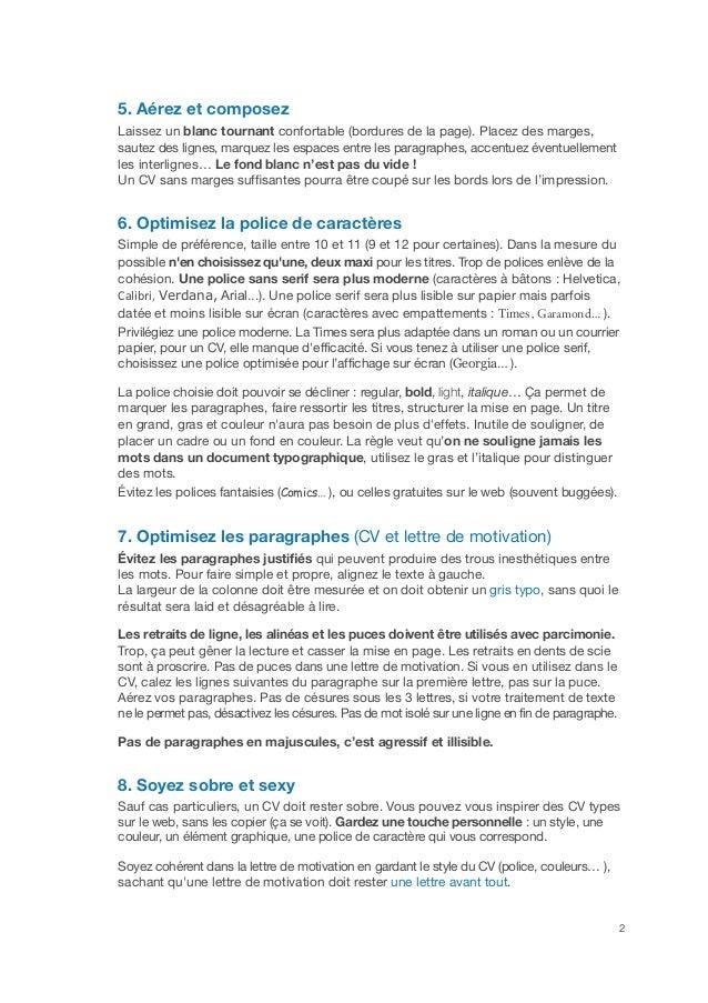 10 règles graphiques pour optimiser son CV Slide 2