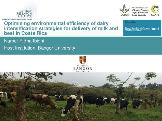 Name: Ridha Ibidhi Host Institution: Bangor University Optimising environmental efficiency of dairy intensification strate...