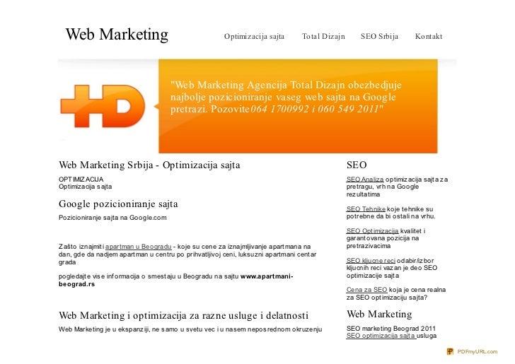 Web Marketing                                       Optimizacija sajta        Total Dizajn       SEO Srbija         Kontak...