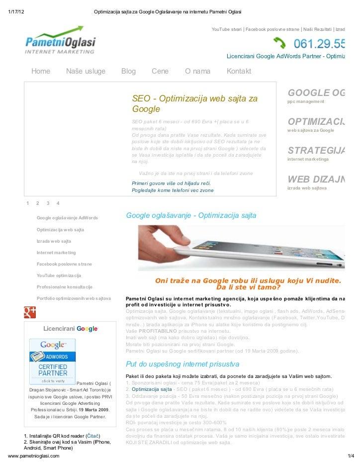 1/17/12                                      Optimizacija sajta za Google Ogla avanje na internetu Pametni Oglasi         ...