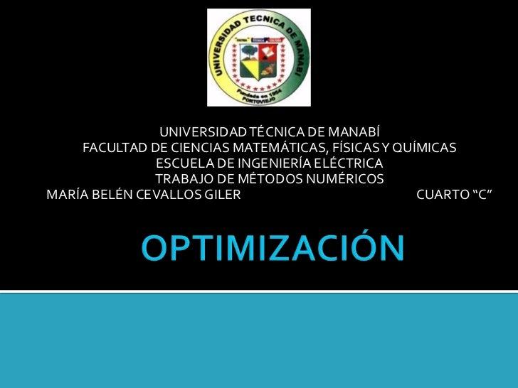 UNIVERSIDAD TÉCNICA DE MANABÍ    FACULTAD DE CIENCIAS MATEMÁTICAS, FÍSICAS Y QUÍMICAS              ESCUELA DE INGENIERÍA E...