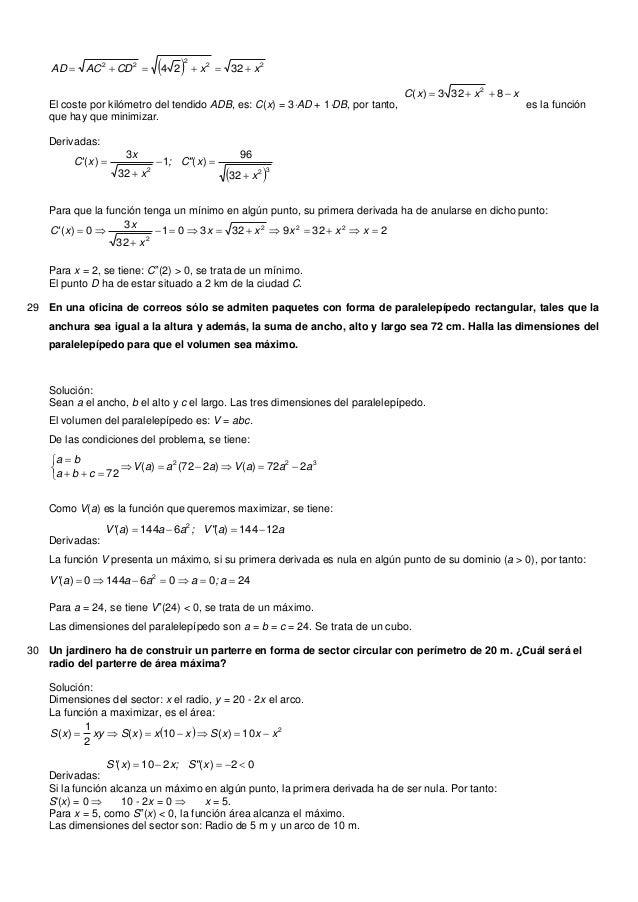   222223224 xxCDACAD El coste por kilómetro del tendido ADB, es: C(x) = 3AD + 1DB, por tanto,xxxC  8323)( 2e...