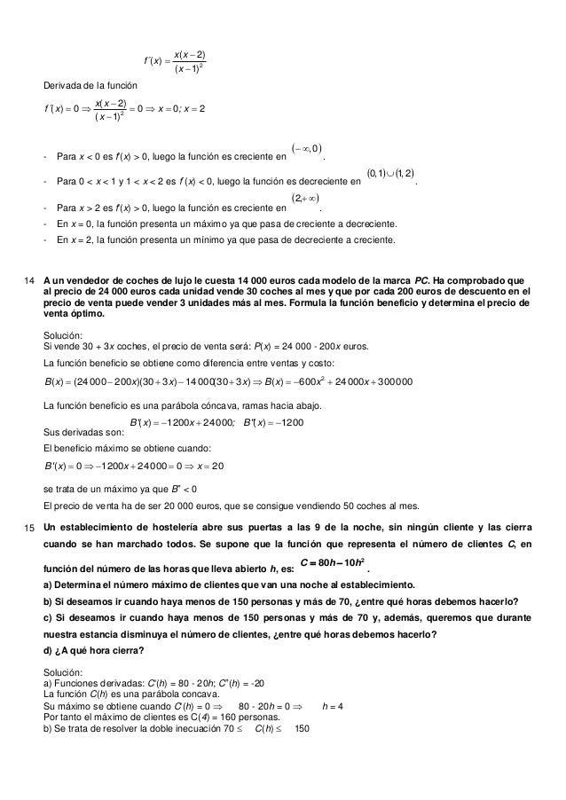 Derivada de la función2)1()2()(xxxxf´200)1()2(0)( 2 x;xxxxxf´- Para x < 0 es f(x) > 0, luego la función es crec...