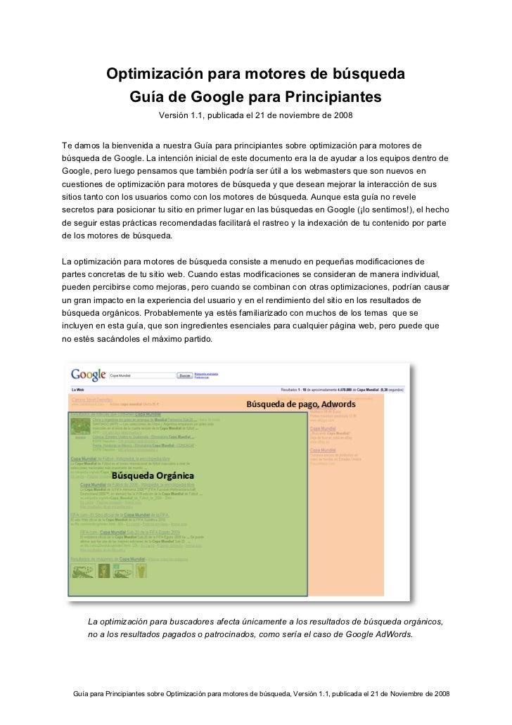 Optimización para motores de búsqueda              Guía de Google para Principiantes                            Versión 1....